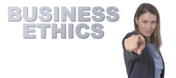 Business Woman pointing the text BUSINESS ETHICS. Business Concept stock image