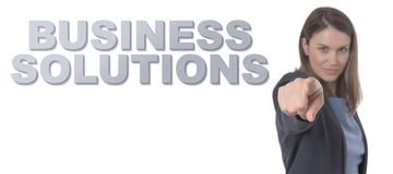 Business Woman pointing the text BUSINESS SOLUTIONS Royalty Free Stock Images