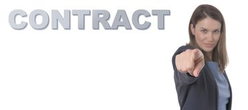 Business Woman pointing the text CONTRACT. Business Concept stock image