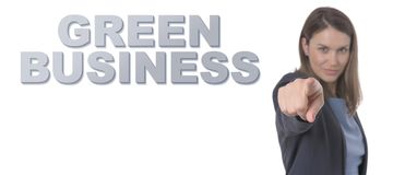 Business Woman pointing the text GREEN BUSINESS CONCEPT Business. Concept Royalty Free Stock Photography