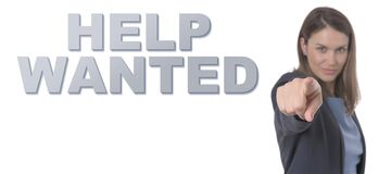 Business Woman pointing the text HELP WANTED CONCEPT. Business Concept Royalty Free Stock Photo