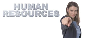 Business Woman pointing the text HUMAN RESOURCES CONCEPT. Business Concept Royalty Free Stock Image