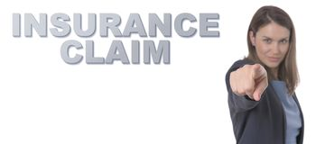 Business Woman pointing the text INSURANCE CLAIM CONCEPT. Business Concept Stock Photography