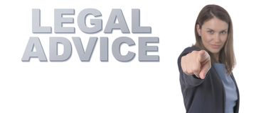 Business Woman pointing the text LEGAL ADVICE CONCEPT. Business Concept Stock Photos