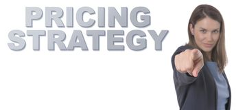 Business Woman pointing the text PRICING STRATEGY CONCEPT. Business Concept Royalty Free Stock Photos