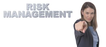 Business Woman pointing the text RISK MANAGEMENT CONCEPT Royalty Free Stock Photo