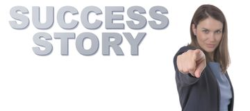 Business Woman pointing the text SUCCESS STORY CONCEPT Royalty Free Stock Images