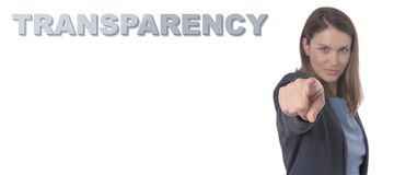 Business Woman pointing the text TRANSPARENCY CONCEPT. Business Concept Stock Photography