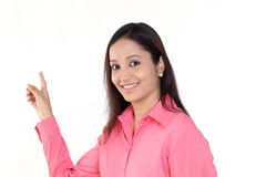 Business woman pointing to top Royalty Free Stock Photography