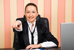 Business woman pointing to you Royalty Free Stock Photography