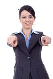 Business woman pointing to you. With both hands stock images