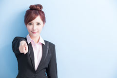 Business woman pointing to you Stock Photography