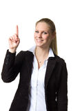Business woman pointing upwards Stock Photography