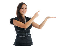 Business woman pointing white copy space Stock Images