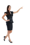 Business woman pointing white copy space Stock Photos