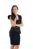 Business woman pointing white copy space Royalty Free Stock Photos