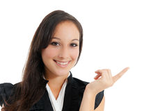 Business woman pointing white copy space Stock Image