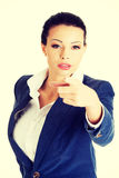 Business woman pointing on you Stock Photo