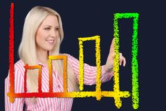 Business woman points at an ascendant curve Stock Photo