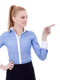 Business woman points finger at something Royalty Free Stock Image