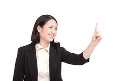 Business woman points finger at something Royalty Free Stock Photography