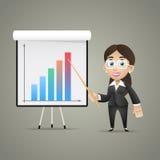 Business woman points on flipchart. Illustration, business woman points on flipchart, format EPS 10 vector illustration