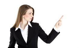 Business woman points Stock Photos