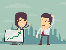 Business woman points to chart of profit Royalty Free Stock Photos
