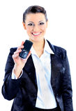 business woman points to the phone Royalty Free Stock Image