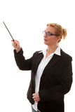 Business woman points tot something Stock Photos