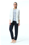 Business woman with pony tail in casual white jacket and black trousers. Full body portrait high heel shoes isolated on white royalty free stock image