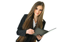 Business Woman with Portfolio. Business woman with a portfolio and pen looking up Stock Image