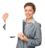 Business woman portrait with blank white banner. Isolated over white royalty free stock photos