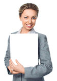Business woman portrait with blank white banner. Isolated over white royalty free stock photo