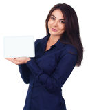 Business woman portrait with blank white banner Stock Image