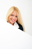 Business woman portrait with blank white board Royalty Free Stock Photo