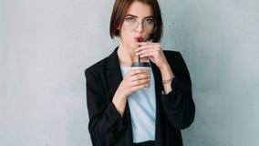 Business woman portrait coffee break copy space stock image