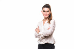 Business woman portrait . Crossed arms . Business woman portrait . Crossed arms on white Royalty Free Stock Image