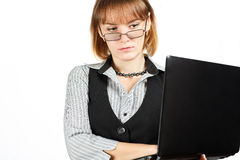 Business woman . Portrait of girl with glasses . Teacher . Portrait of girl with glasses . Business woman with a laptop Stock Photos