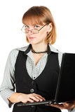 Business woman . Portrait of girl with glasses . Teacher . Portrait of girl with glasses . Business woman with a laptop Royalty Free Stock Photo