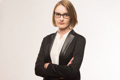 Business woman. Portrait of a business woman in glasses Royalty Free Stock Photography