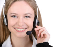 Business Woman. Portrait of happy smiling cheerful support phone operator in headset, isolated on white background Stock Image