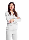 Business woman. Portrait of happy young business woman isolated on white background royalty free stock photography