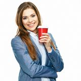 Business woman portrait hold red coffee cup. Young  Smiling woman hold mug Stock Images