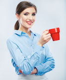 Business woman portrait hold red coffee cup. Royalty Free Stock Photography