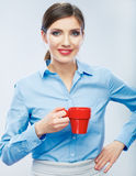 Business woman portrait hold red coffee cup. Stock Photos