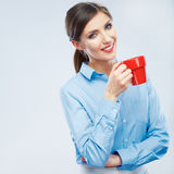 Business woman portrait hold red coffee cup. Stock Image