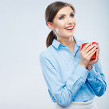 Business woman portrait hold red coffee cup. Royalty Free Stock Photos