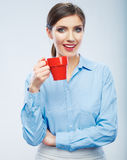 Business woman portrait hold red coffee cup. Royalty Free Stock Images