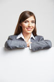 Business woman portrait isolated with blank boaed Royalty Free Stock Images